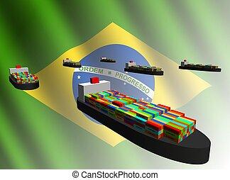 exportation, bateaux, brésilien