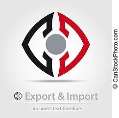 exportation, business, importation, icône