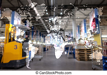 exportation, carte, concept., importation, global, logistique, partnership.