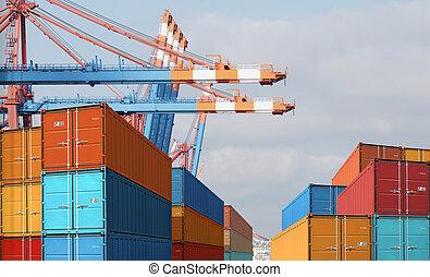 exportation, importation, récipients cargaison, dans, port