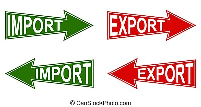exportation, international, vecteur, symbole, indicateurs, marchandises, exportation, importation, business, flèche, chiffre d'affaires, indicateur