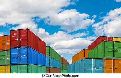 exportation, ou, importation, expédition, récipient cargaison, piles, dans, port