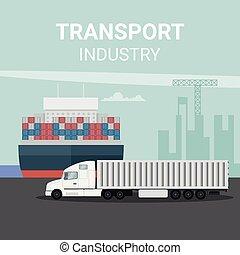 exportation, récipient, camion, logistique, bateau, cargaison, port