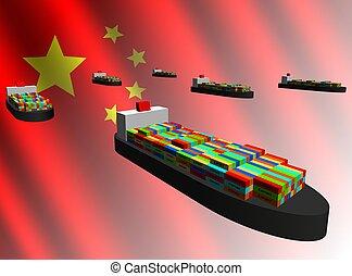 exportation, récipient, chinois, bateaux