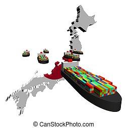 exportation, récipient, japonaise, bateaux