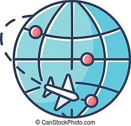 exportation, vecteur, colis, marché, map., illustration, commercer, isolé, bleu, commerce international, commerce, logistique, couleur, importation, rgb, delivery., poste aérienne, icon.