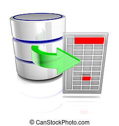 exportera, data, databas