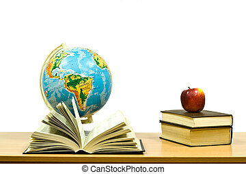 exposed books and globe