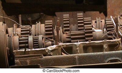 Exposed gears of a T54 battle tank engine in Siem - A steady...