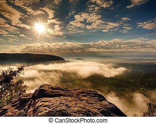 Exposed sandstone cliff above deep misty valley. Landscape...