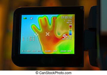 exposer, appareil photo, noncontact, thermomètre, infrarouge
