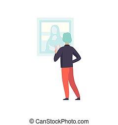 exposer, art, mona, visiteur, musée, vue, mur, illustration, dos, regarder, examen, vecteur, exposition, pendre, lisa, mâle, peinture, galerie, homme