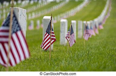 exposer, -, cemetary, petit, américain, monument commémoratif national, jour, drapeau