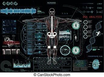exposer, monde médical, app, (hud), haut, ui, tête