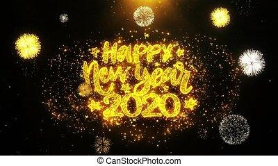 exposer, particles., souhait, heureux, année, nouveau, texte, explosion, 2020, feud'artifice