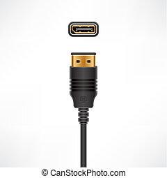exposer, port, câble