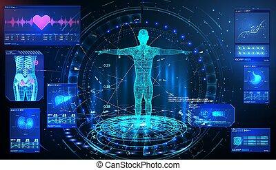 exposer, poumons, organes, virtuel, ui, balayage, coeur, reins, mrt, examination., interface, ensemble, élément, santé, balayage, futuriste, technology., corps, gui, foie, monde médical, hud, elements., humain