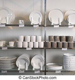 exposição armazém, de, dishes.