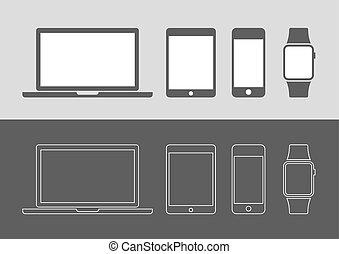 exposição, dispositivos, ícones