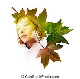 exposição dobro, de, mulher, com, árvore, folhas