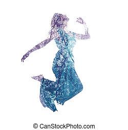 exposição dobro, de, mulher, pular, com, folhas