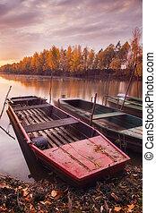 exposição longa, foto, de, barcos, ligado, tisza, rio, em,...