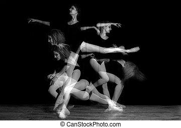 exposição múltipla, imagem, de, bailarina, dançarino