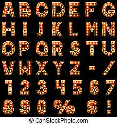 exposición, alfabeto, aislado, fondo., negro, lámparas, rojo