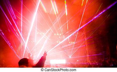 exposición, concierto, laser, música, panorama