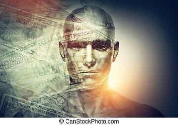 exposición, doble, dólares, cara, humano, hombre