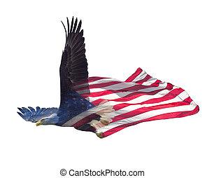 exposición doble, de, águila calva, en, norteamericano, flag.
