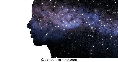 exposición doble, mujer, y, galaxia