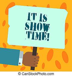 exposición, foto, él, señal, blanco, entretenimiento, time., tenencia, texto, conceptual, empresa / negocio, actuación, space., hu, palo, mano, etapa, cartel, coloreado, perforanalysisce, análisis, de arranque