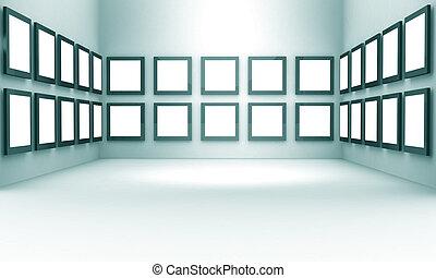 exposición, foto, concepto, galería, vestíbulo