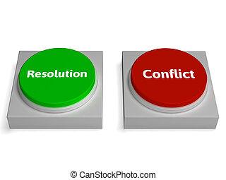 exposición, negociar, botones, resolución, o, conflicto,...