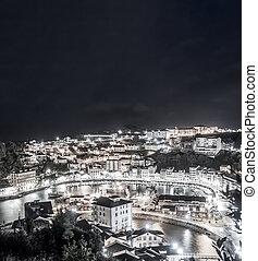 exposición, noche, luarca, cima, opinión de la ciudad, largo