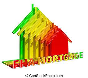 exposiciones, hipoteca, fha, federal, ilustración, administración, caja, 3d