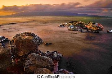 exposition, brouillard, mer, long, rochers