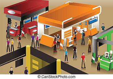 exposition, cabines, scène