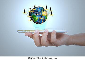 exposition, communication mobile, moderne, main, téléphone, t, tenue, technologie