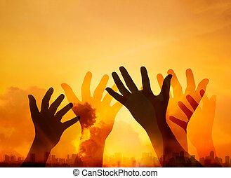exposition, coucher soleil, respect, fond, prier, double, ville, résumé