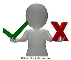 exposition, décision, croix, choix, symboles, tique, ou