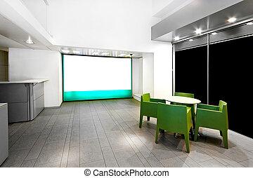 exposition, détail, salle