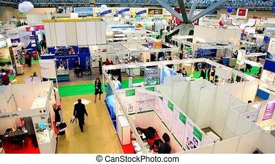 exposition, de, monde médical, sociétés, dans, grand, salle...