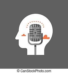 exposition, enregistrement, microphone, podcast, concept, émission, club, musique, radio, comédie, studio