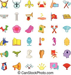 Exposition icons set, cartoon style