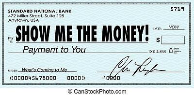 exposition, me, les, argent, chèque, jour paie, revenus,...
