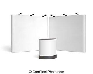 exposition, mock-up., isolé, commercer, vecteur, cabine, fond, blanc