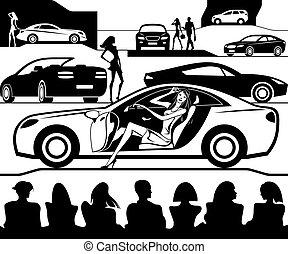 exposition mode, voiture, présente, auto, nouveau modèle
