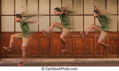 exposition multiple, de, a, jeune homme, sauter, à, ternissure mouvement
